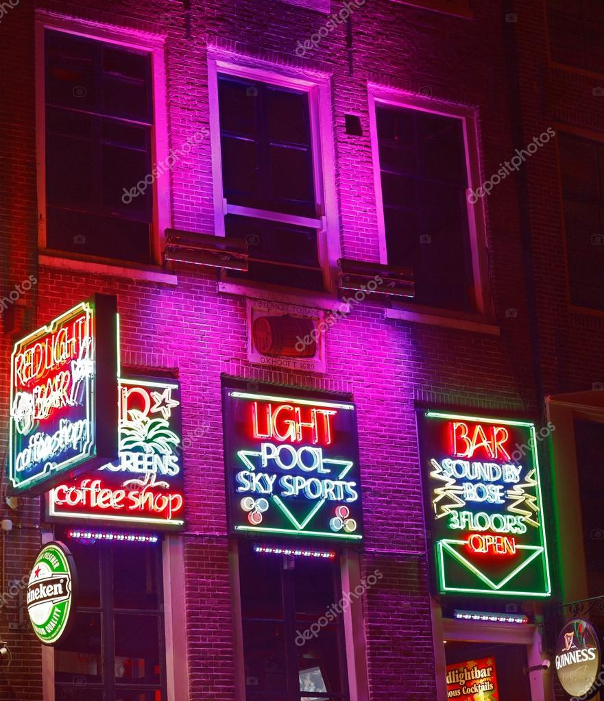 Red light bar in amsterdam stock editorial photo razvanphoto amsterdamnetherlands october 31st 2011 night image of colorful coffee shop signs in the red district from amsterdam photo by razvanphoto aloadofball Image collections