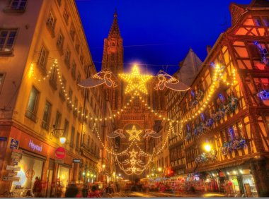 Rue Merciere During Christmas Illumination in Strasbourg