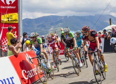 COL DE VAL LOURON-AZET, FRANCE, JULY 07, 2013: group of cyclists