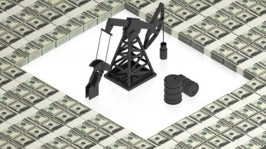 oil derrick with dollars