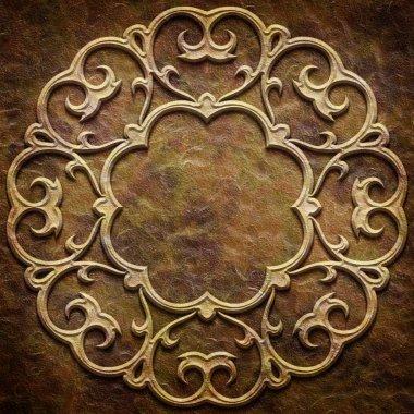 Gold metal pattern on paper backgrond (vintage collection)