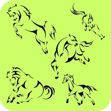 Light Horses - vector set. Vinyl-ready.