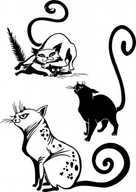 Stylized Cats - elegance and graceful cats.