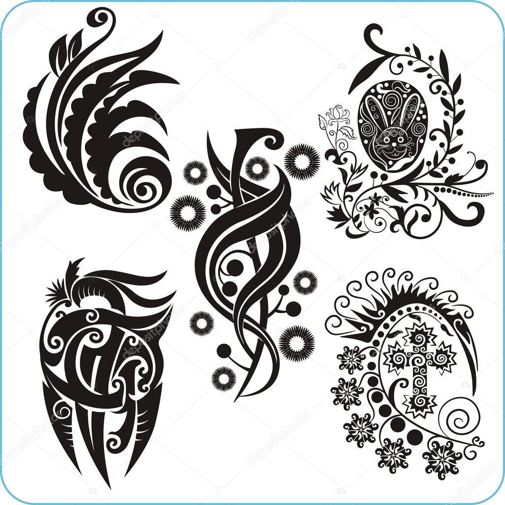 Easter Design - vector set floral symbols