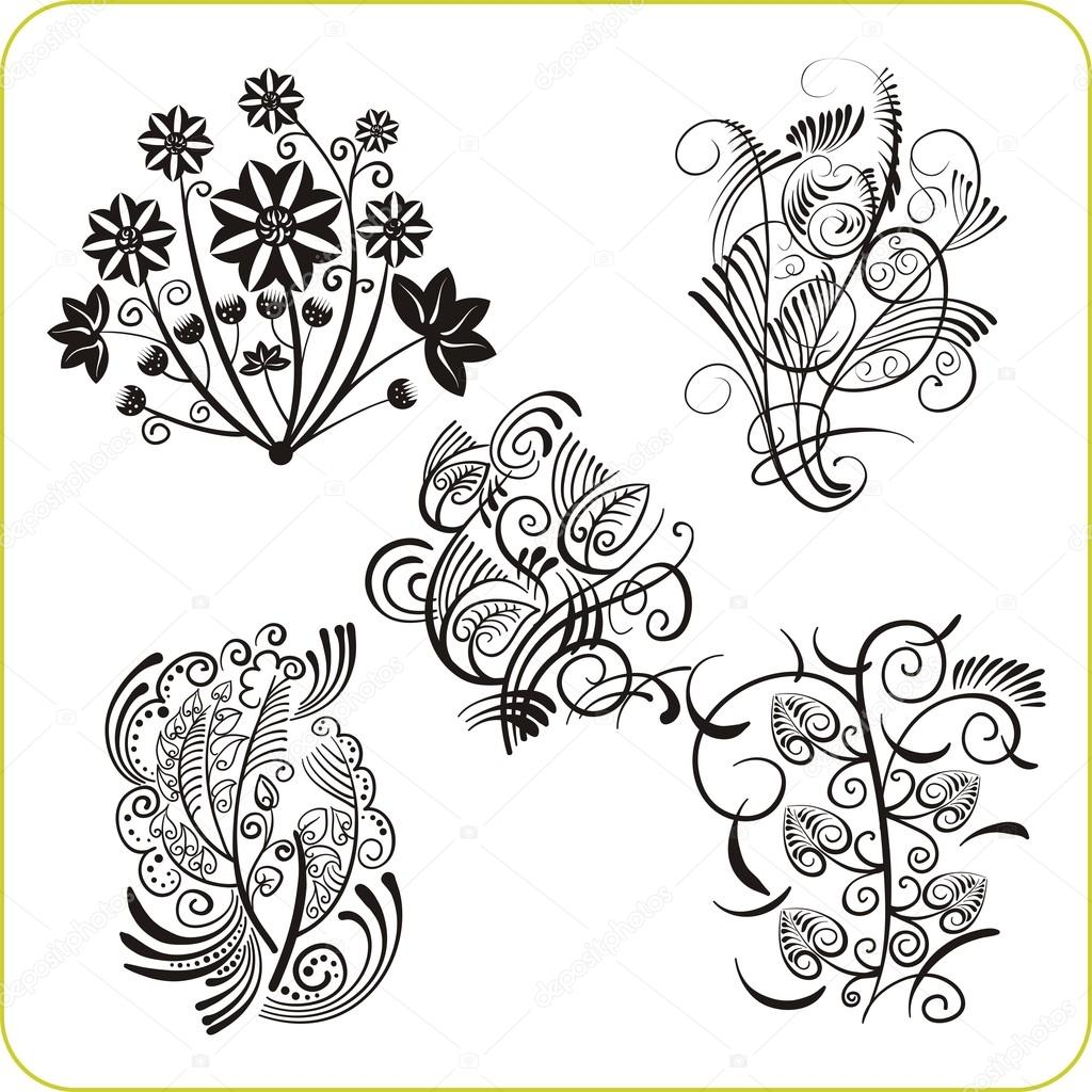 Floral Design - vector set easter symbols