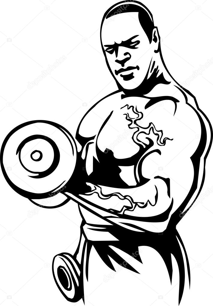 Drawing Lines With Jquery : Bodybuilding and powerlifting vector — stock