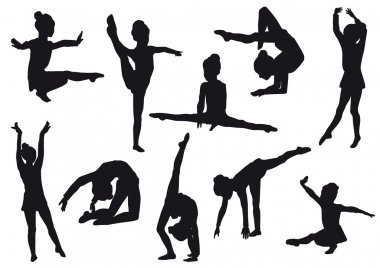 Silhouettes of gerl, children at dance, aerobics, shaping.