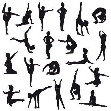 Silhouettes of gerl, children at dance, aerobics, shaping