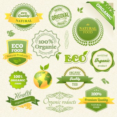 Vector Organic Food, Eco, Bio Labels and Elements. Vector illustration. clip art vector
