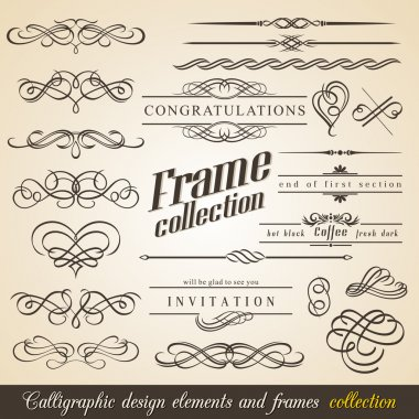 Calligraphic Design Elements and Frames. Vintage Collection. Vector. clip art vector