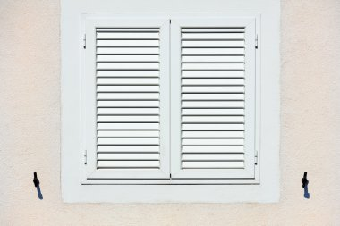 Window with white shutters