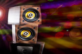 Close up view of nice loudspeakers in night club environment