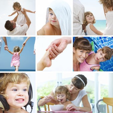 Beautiful baby lifestyle theme collage made from few photographs