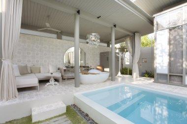 Fragment like image of nice modern summer pool terrace