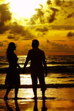 View of young couple canoodling fondly during sunset