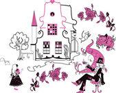 Alice im Wunderland-Vektor-illustration