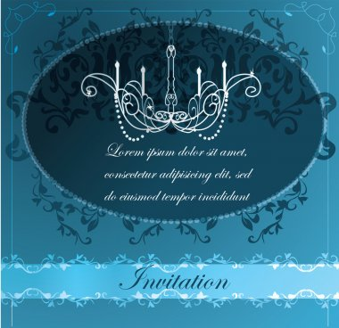 Invitation with chandelier background