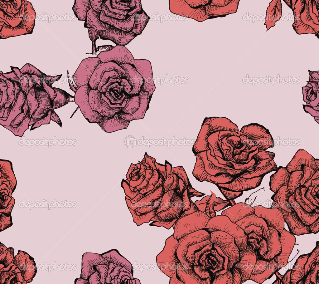 Flower sketch bouquet seamless pattern