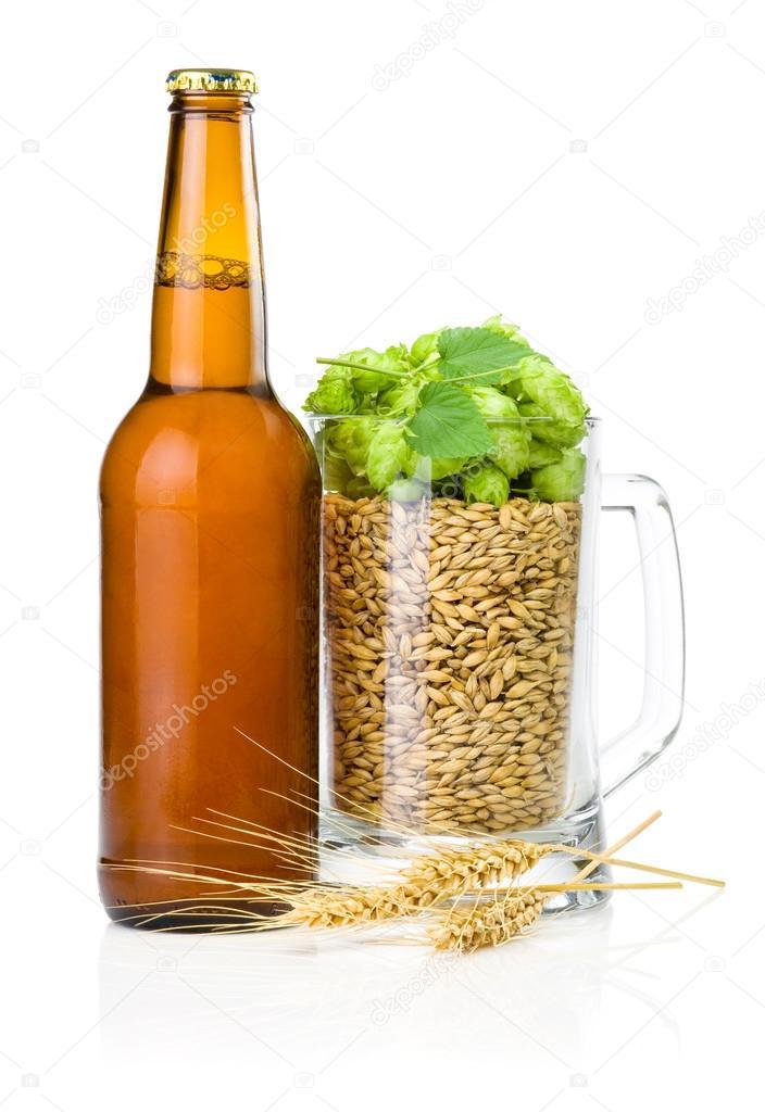 Brown bottle of beer, Mug full of barley and hops, Wheat ears is