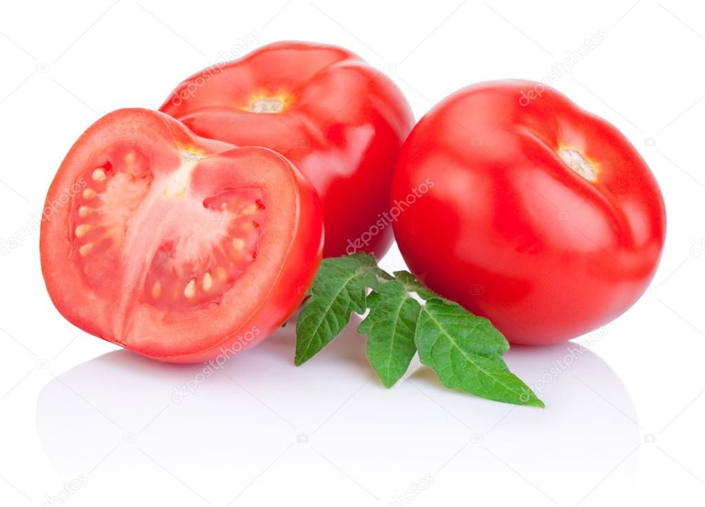 Two Juicy Red tomatoes and half with leaves Isolated on white ba