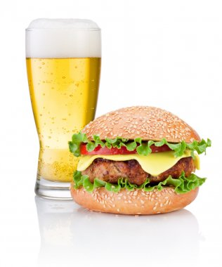 Hamburger and Glass of beer isolated on white background