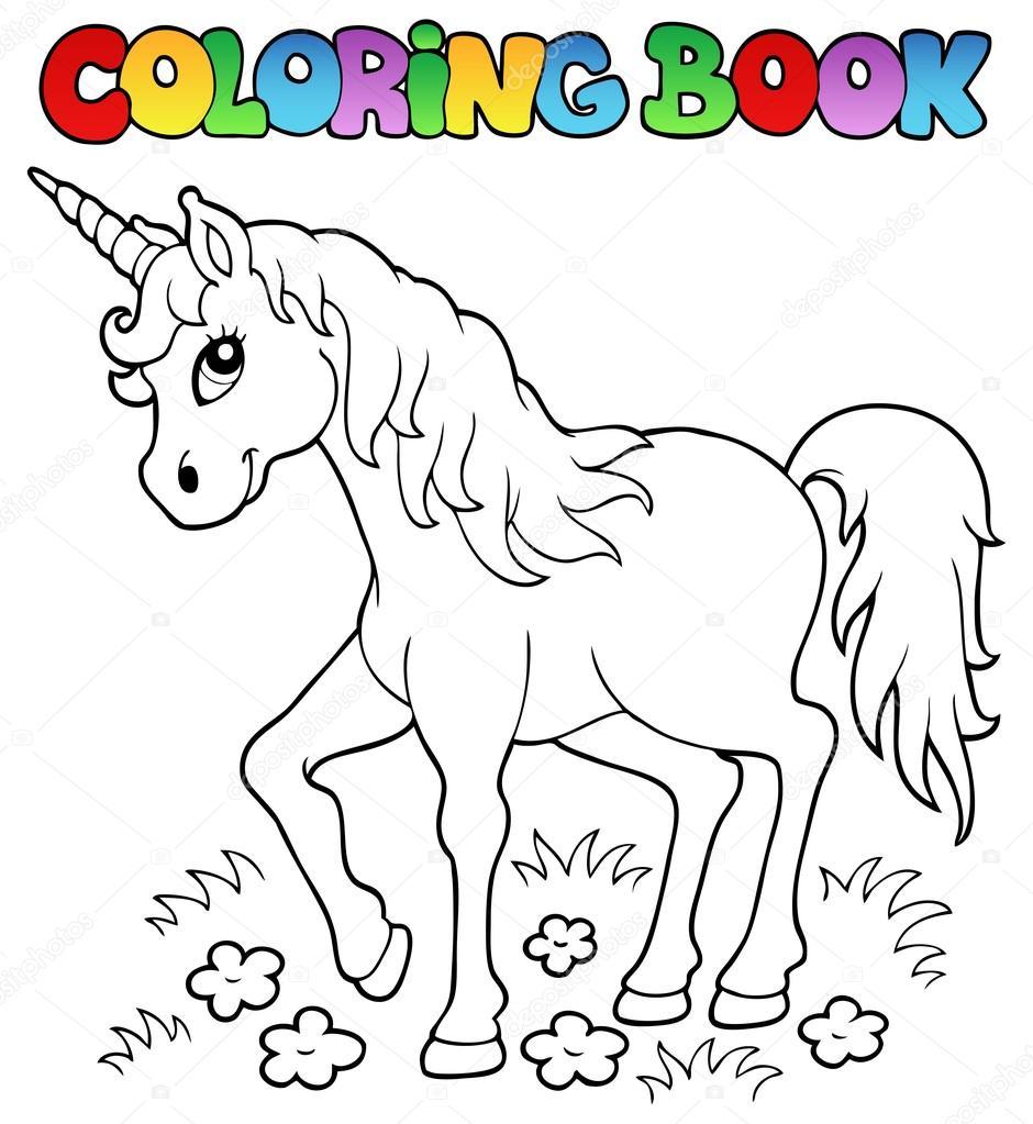 Kleuren Boek Eenhoorn Thema 1 Stockvector C Clairev 12564853