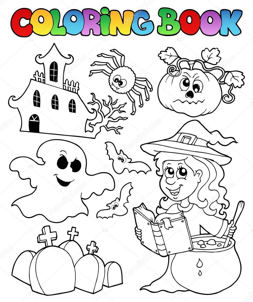 Kitap Halloween Tema 8 Boyama Stok Vektör Clairev 13127066
