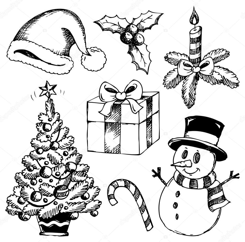Boże Narodzenie Stylizowane Rysunki 1 Grafika Wektorowa Clairev