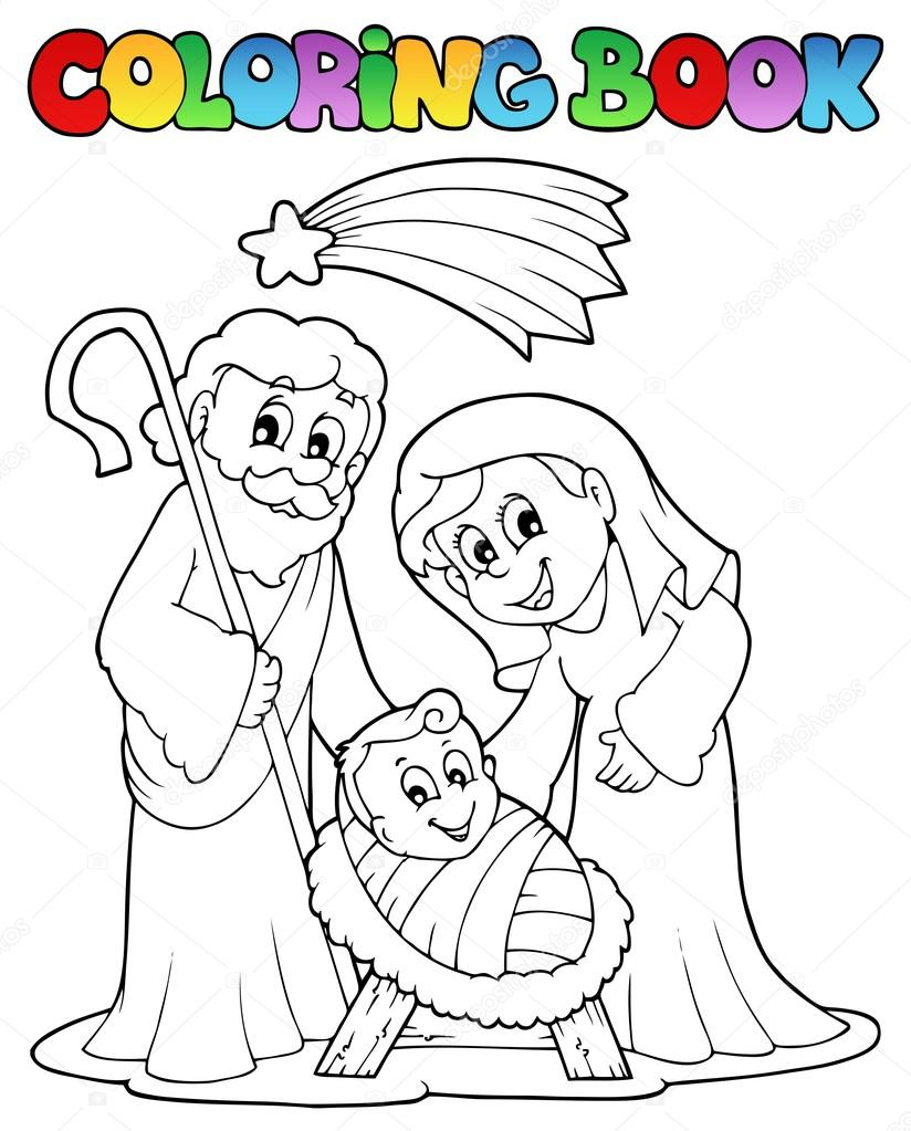 Coloring book Nativity scene 1 — Stock Vector © clairev #14589309