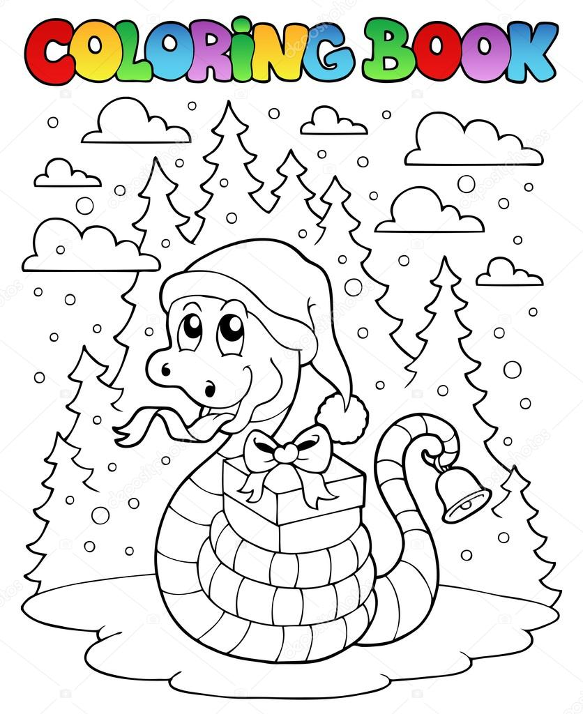 serpiente de Navidad de libro para colorear 1 — Archivo Imágenes ...