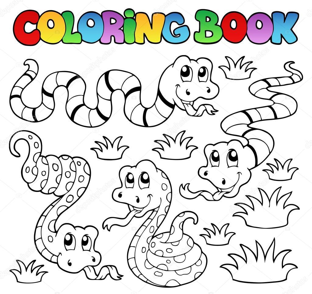 libro para colorear de serpientes tema 1 — Vector de stock © clairev ...