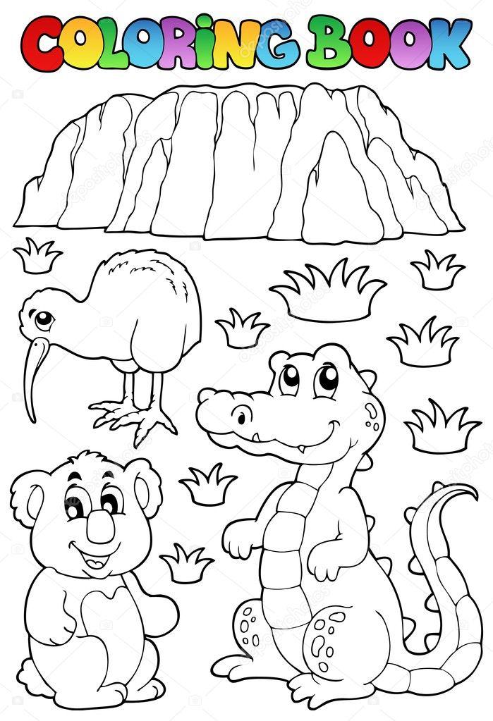 libro para colorear la fauna australiana 3 — Vector de stock ...