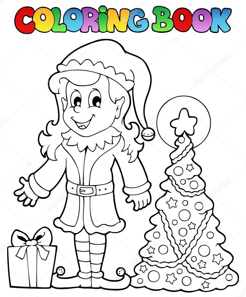 tema libro Navidad elf 3 para colorear — Archivo Imágenes ...
