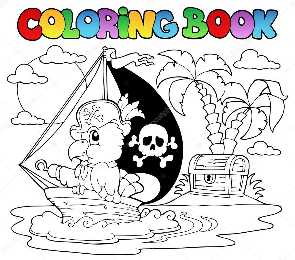 tema libro pirata loro 2 para colorear — Archivo Imágenes ...
