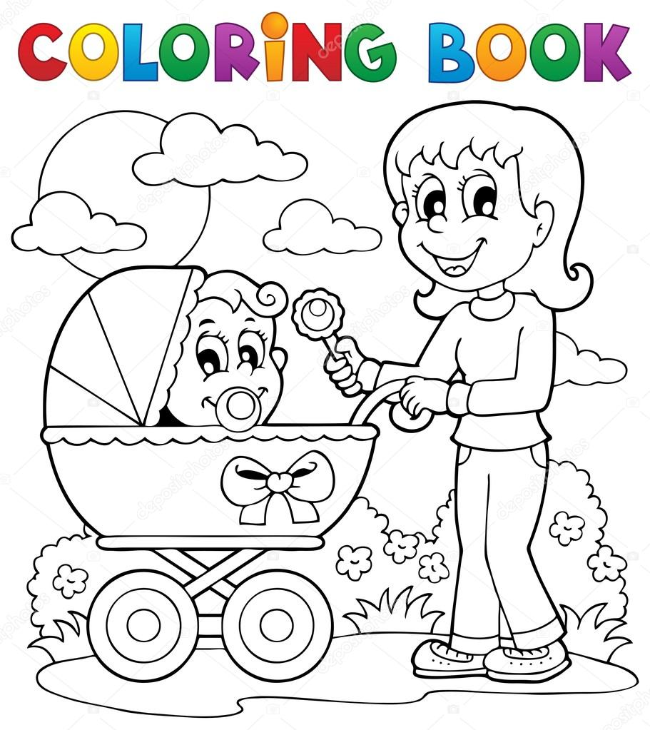Coloring Book Baby Theme Image 2 Stock Vector Clairev 19819819