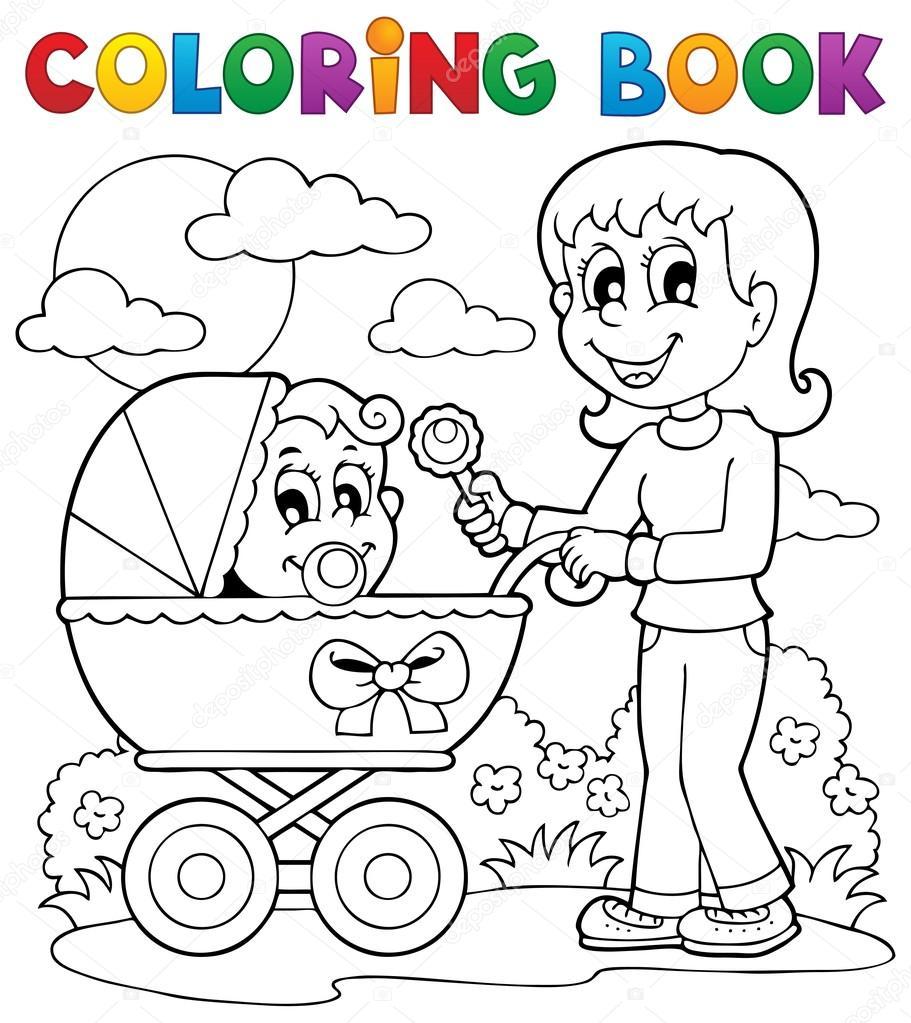 Boyama Kitabı Bebek Tema Resim 2 Stok Vektör Clairev 19819819