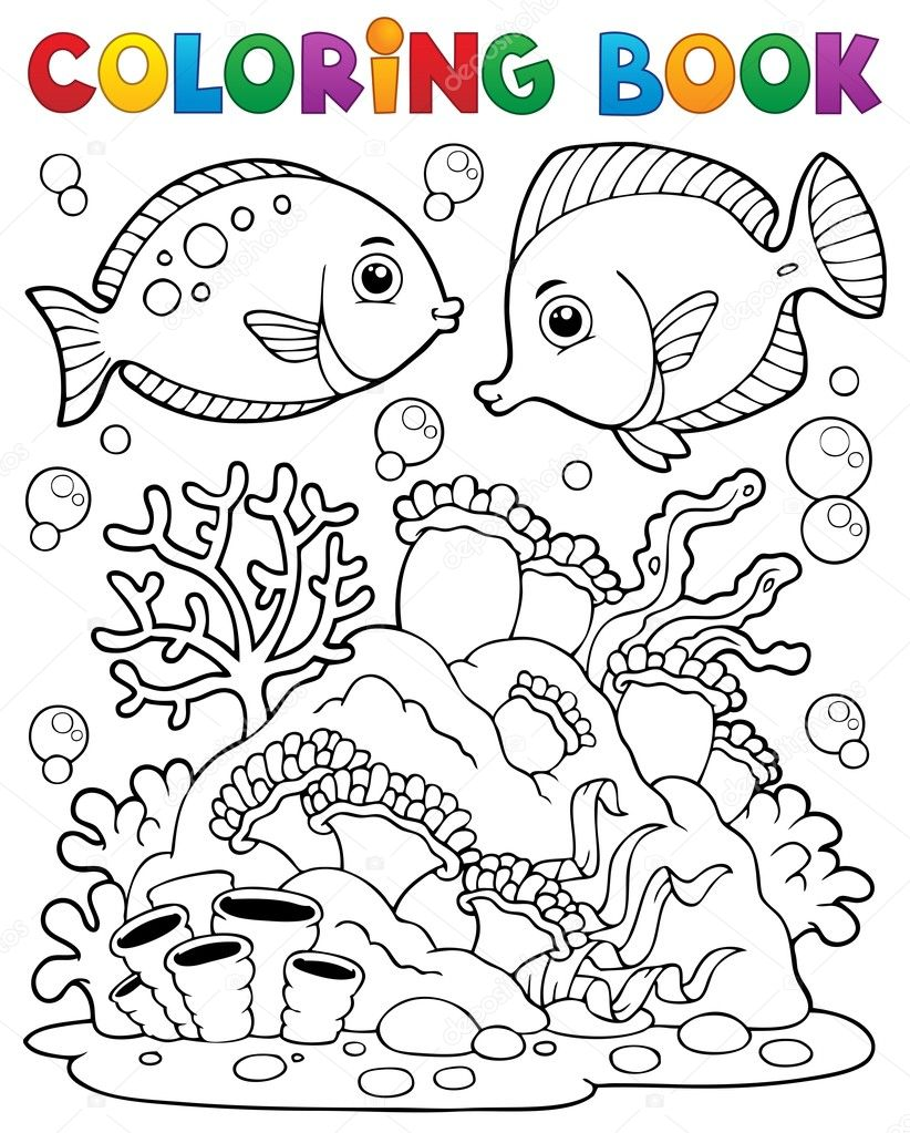tema de arrecife de coral de libro 1 de colorear — Vector de stock ...