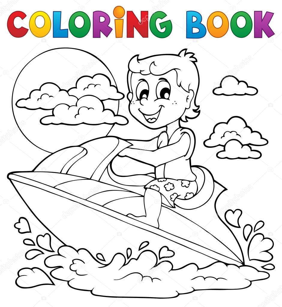 tema libro agua deporte 2 para colorear — Vector de stock © clairev ...