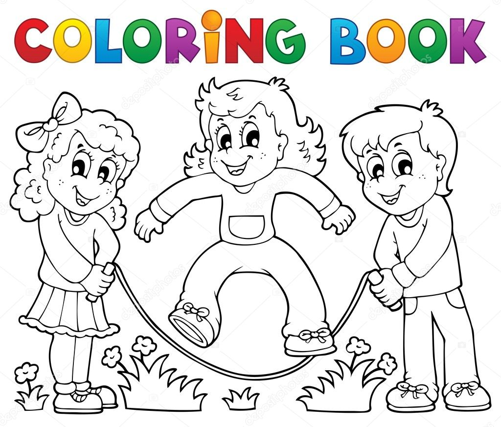 Coloring book kids play theme 1 — Stock Vector © clairev #24544921