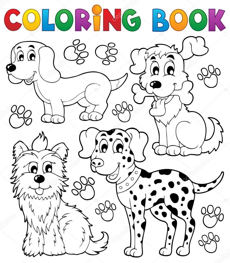 Окраска книга собака Тема 5 — Векторное изображение ...
