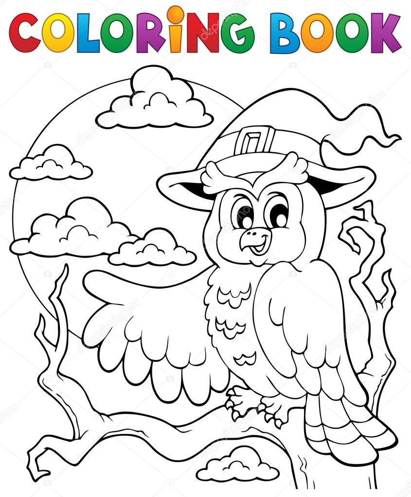 Buho de halloween de libro para colorear 1 — Archivo Imágenes ...