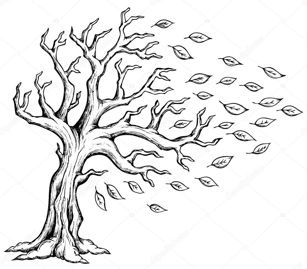 Sonbahar Ağaç Tema Resim 2 Stok Vektör Clairev 30599063