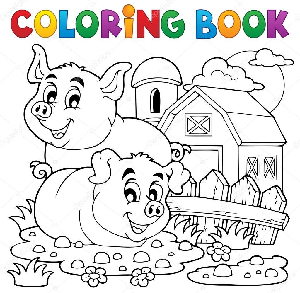 tema de cerdo libro 2 para colorear — Archivo Imágenes Vectoriales ...