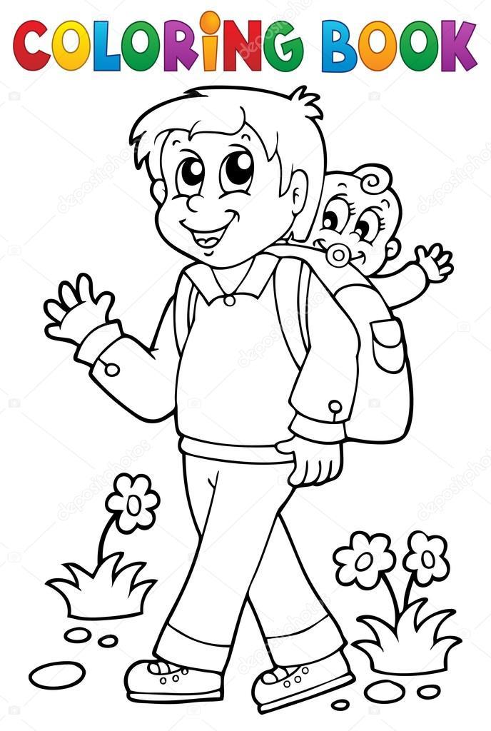 Boyama Kitabı Baba Ile çocuk 1 Stok Vektör Clairev 47349659