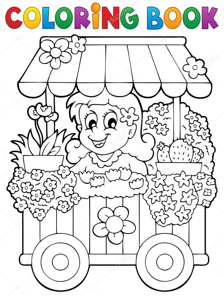 colorear el tema libro flor tienda 1 — Archivo Imágenes Vectoriales ...