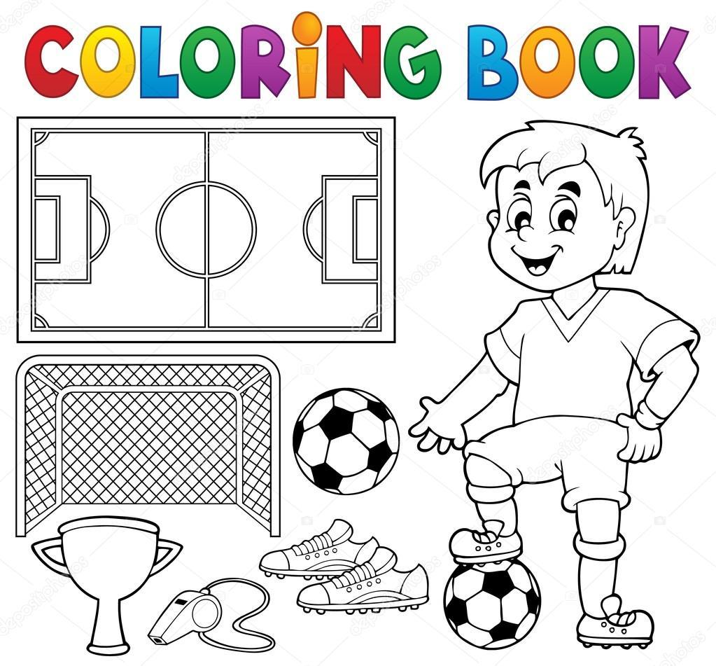 Coloriage Theme Foot.Coloriage Theme De Football Livre 1 Image Vectorielle