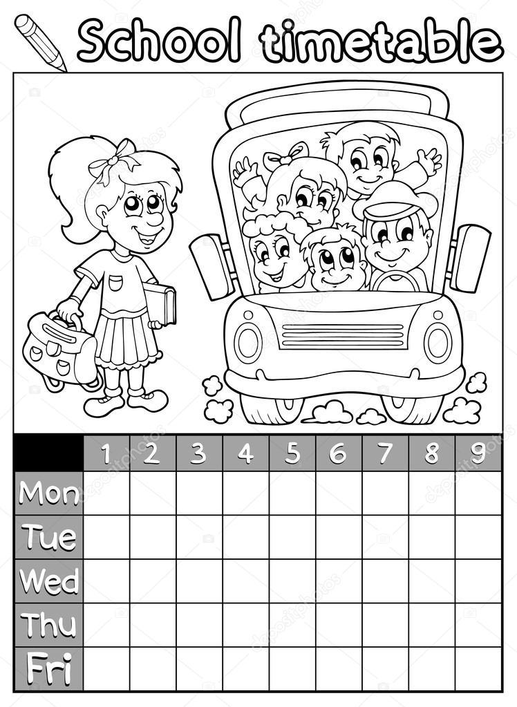 colorear horario escolar libro 7 — Archivo Imágenes Vectoriales ...