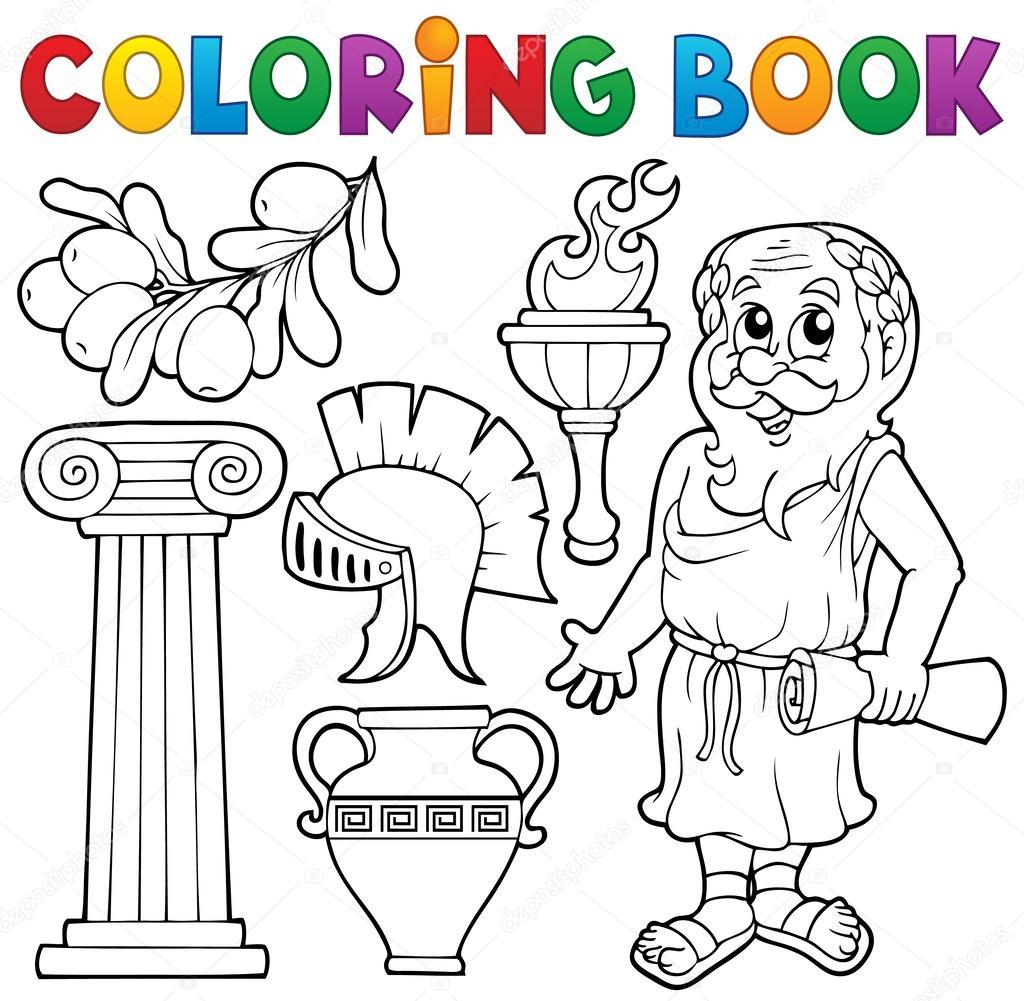 colorear el tema griego libro 1 — Vector de stock © clairev #50530771