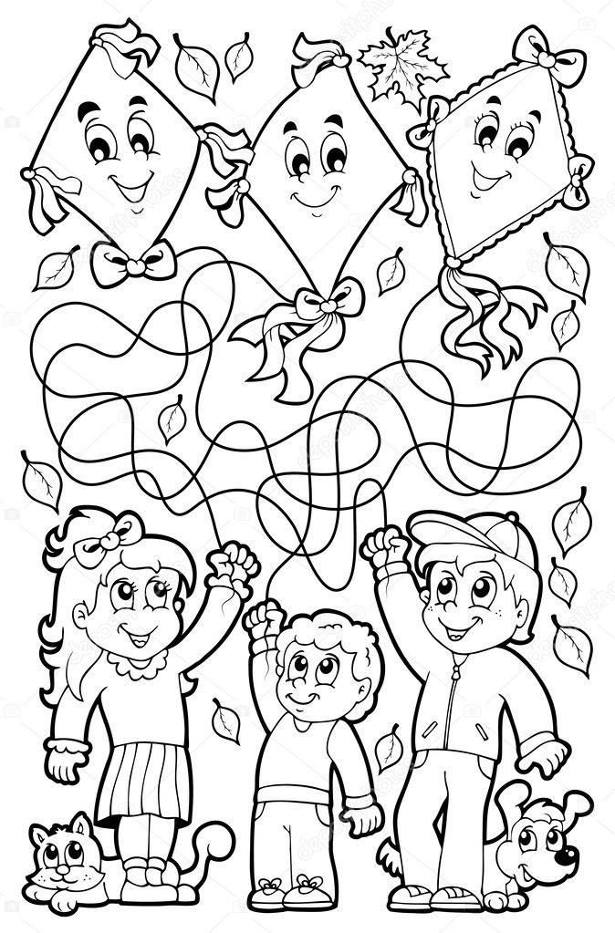 小さな子ども連れの迷路 9 塗り絵 ストックベクター Clairev 50531237