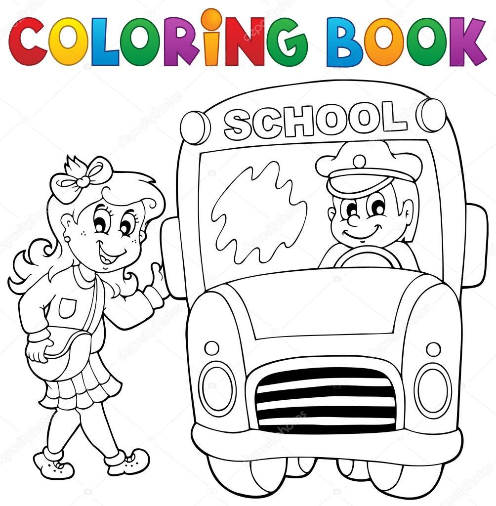 tema de autobús escolar libro 3 para colorear — Archivo Imágenes ...